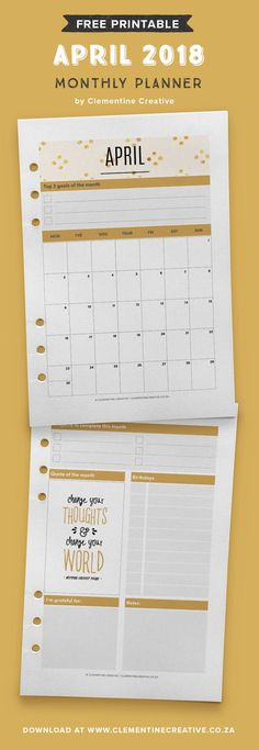 Free printable April 2018 monthly planner page