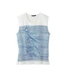 T-shirt femme en jersey léger printé mer et voilier
