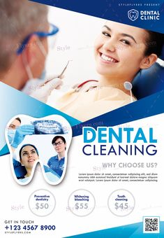 Dental Cleaning PSD Flyer Template and more than Premium PSD flyer templates for event, loud party or successfull business. Dental Clinic Logo, Dentist Logo, Social Design, Dental Posters, Medical Brochure, Dental Design, Psd Flyer Templates, Dental Services, Leiden
