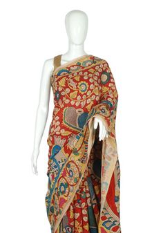 Crepe Pen Kalamkari Saree – Desically Ethnic