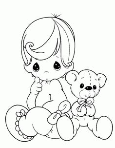 precious moments baby and teddy bear coloring pages precious