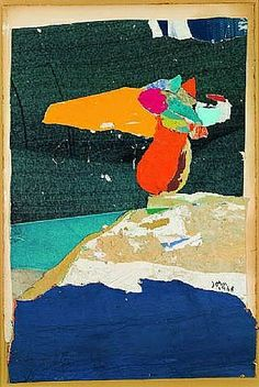 Asger Jorn; 'Equilibre Précair'- collage and décollage on paper on wrapping paper on wood 1968