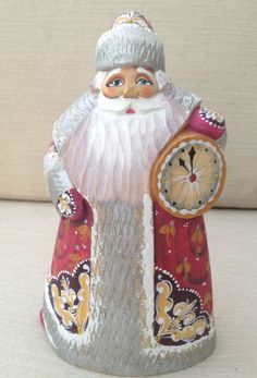 Russian SANTA Wooden Hand Carved Hand Painted Father of Frost SIGNED by artist
