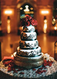 Cakes, Real Weddings, Wedding Style, white, red, black, Classic, Wedding Cakes, Classic Real Weddings, Classic Weddings, Roses, Elegant, Glamorous, Old hollywood, Jessica Lorren Organic Photography