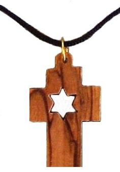 These exquisitely carved Messianic Cross and Star of David capture the beauty of fine craftsmanship of the artist from the Holy Land. Combining Jewish and Christian symbols! Hangs on black lace cord ~ They come with description of 'The Messianic Symbols. Hand Made in Olive Wood ~ No two necklaces are alike.