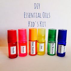 DIY Essential Oils Kid's Kit: Rainbow roller bottles with labels detailing the blend in each--details in this blog post.  Our family ...
