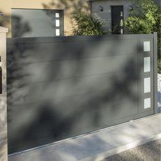 Portail coulissant en aluminium, Austin, 3,5m x 1,70 m, couleur gris zingué