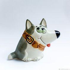 Купить Тузик - символ года 2018 - Собака - серый, статуэтка собаки, фарфоровая собака