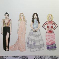 Grammys 2017 red carpet fashion illustration done with copic markers: Katharine McPhee in Nguyen Atelier  Kelsea Ballerini in Ines Di Santo  Camilla Cabello in Miri Couture  Katy Perry in Tom Ford  Alexa's Illustrations. alexasillustrations