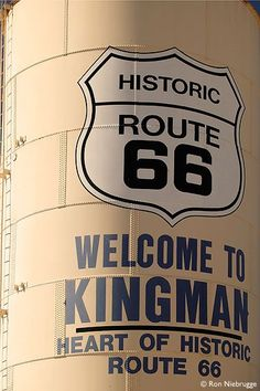 Welcome to Kingman Sign identifying Kingman, Arizona as the heart of Historic Route Mojave Desert, Kingman, Arizona. Take a drive and get your kicks on Route 66 such a big part of Americana. Road Trip Usa, Road Trip Route 66, Route 66 Usa, Route 66 Arizona, Old Route 66, Historic Route 66, Travel Route, Travel Usa, Travel Oklahoma