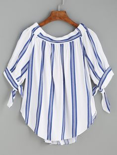 SheIn offers Blue Vertical Striped Tie Sleeve Curved Hem Blouse & more to fit your fashionable needs. Blouse Online, Simple Dresses, Blouse Designs, Fashion Outfits, Fashion Styles, Women's Fashion, Couture, Tops, Sleeves