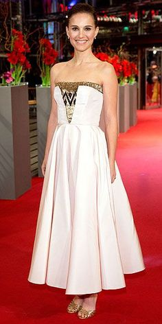 Last Night's Look: Love It or Leave It? | NATALIE PORTMAN | in a Dior dress and Charlotte Olympia heels at the Berlin Film Festival Premiere of As We Were Dreaming.