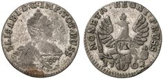 VI Groschen. Russian Coins. Russian Coinage for East Prussia. Konigsberg (Bitkin Moscow) mint, 1762. 2,22g. Bit 810. Crown points to colon of D:G:IMP. RR! Good VF. Starting price 2011: 2.400 USD. Unsold.