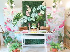 Vivienne's Tropical Pink Flamingo Themed Party – Birthday Flamingo Birthday, Different Shades Of Pink, Painted Leaves, Tropical Fruits, Tropical Vibes, Paper Lanterns, Pink Flamingos, Party Themes, Party Ideas