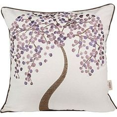 "Xubox Cotton Linen Decorative Throw Pillow Cushion Covers Pillowcase Shell the Lavender Wish Tree Embroidery 18"" X 18"""