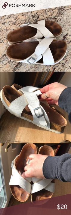 Birkenstock Betula criss cross sandal good used condition, tons of life left in these beauties! Selling for a friend, feel free to make an offer! Birkenstock Shoes
