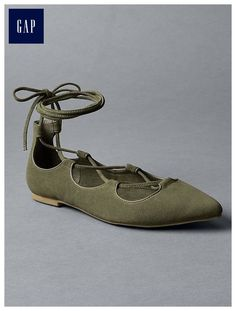 Fabulous Lace up Ballet Flats at Gap. Loving the Olive Green.