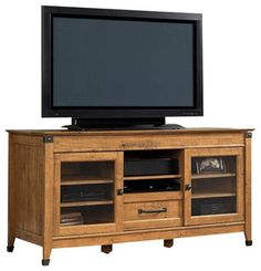 Sauder Registry Row TV Credenza in Amber Pine Finish - traditional - home electronics - by Cymax