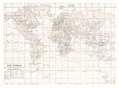 World Map Tapestry Wall hanging  vintage map cream and by Mapology