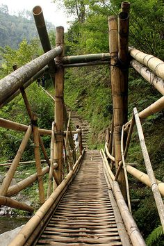 Bamboo Bridge . Tumpang, East Java, Indonesia Bridges Architecture, Bamboo Architecture, Sustainable Architecture, Laos, Tiki Bar Decor, House Cladding, Bamboo Structure, Bamboo Construction, Bamboo Art