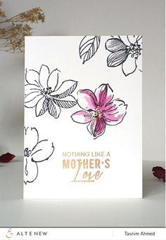 The images from the Wild Hibiscus stamp set by Altenew have a unique sketched style making them perfect for use either as is or with some added color.