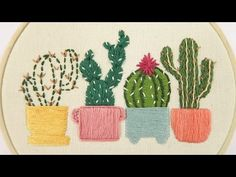 61 Ideas for embroidery simple cactus Embroidery Hearts, Hand Embroidery Videos, Embroidery Letters, Hand Embroidery Flowers, Machine Embroidery Projects, Embroidery Patterns Free, Embroidery For Beginners, Hand Embroidery Designs, Embroidery Stitches