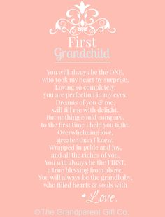 First Grandchild Poem, The Grandparent Gift Co.