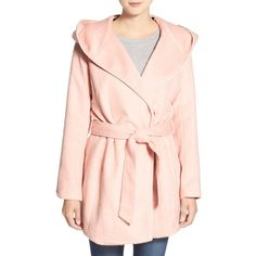 Steve Madden Hooded Wrap Coat ($70) ❤ liked on Polyvore featuring outerwear, coats, soft pink, pink hooded coat, pink coat, hooded coats, tie belt and steve madden
