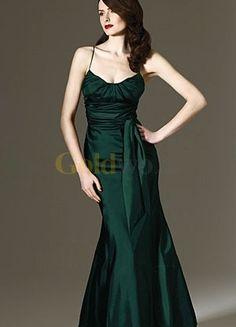 [US$179.99] Simple Dark Green Mermaid Floor Length Spaghetti Sash Taffeta Evening Dress