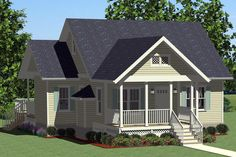 Browse nearly ready-made house plans to find your dream home today. Floor plans can be easily modified by our in-house designers. Cottage Style House Plans, Beach House Plans, Cottage Ideas, Cottage Plan, Cottage Living, Tiny Living, Narrow Lot House Plans, Small House Plans, Mother In Law Cottage
