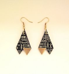 Triangle Tribal Print Black & Gold Earrings by RachellovesBob