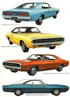 Vintage Car Models 1970 Dodge Charger Range - I think my Dad had the 1969 model. Pub Vintage, Vintage Cars, Us Cars, Sport Cars, Dodge Srt, Dodge Challenger, Dodge Cummins, Dodge Trucks, Automobile