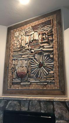 abstract cork and stone wall-art - Helena Surinski. abstract cork and stone wall-art – Helena Surinski abstract cork and stone wall-art abstract cork an Driftwood Wall Art, Driftwood Projects, Driftwood Sculpture, Wall Wood, Wine Cork Art, Deco Originale, Inspirational Wall Art, Wooden Art, Nature Crafts