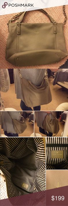 ♠️ KATE SPADE LEATHER BAG ♠️ Gorgeous Leather Kate Spade Bag | Wear as a shoulder bag, Crossbody or on your arm | It is a beautiful taupe/mushroom color with gold hardware | Crossbody strap is detachable if you don't want to use it | Big & roomy bag, very comfy to wear | Comes from a smoke free home | There is some cracking along edges of the handles (mostly on Crossbody strap) and the inside is a little stained, not too noticeable (see photo) but aside from that it is a beautiful bag That…