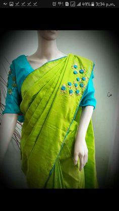Whatsapp on 9496803123 to customise handwork n cutwork Saree Embroidery Design, Hand Embroidery Dress, Creative Embroidery, Simple Embroidery, Embroidery Stitches, Kalamkari Blouse Designs, Kerala Saree Blouse Designs, Saree Blouse Neck Designs, Saree Blouse Patterns
