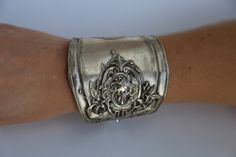 Antique Sterling Silver Lady Goddess Victorian Cuff by CelebLuxe