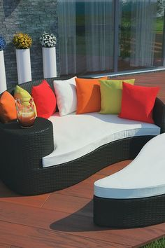 Taiji Outdoor Wicker Patio Daybed with Ottoman - Espresso/Multi