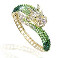 Women's Austrian Crystal Cool Animal Fly Dragon Bangle Bracelet Gold-Tone - Green w/ Clear - - Shop, Bracelets, Bangle Bracelets, Bangle Crystal Jewelry, Crystal Rhinestone, Swarovski Crystals, Silver Jewelry, Unique Jewelry, Luxury Jewelry, Silver Ring, Jewelry Gifts, Silver Earrings