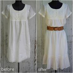 How to Lengthen a Mini Dress with a Ruffle. How to make your outfit beautifully modest :) DIY tutorial. Diy Clothing, Sewing Clothes, Modest Outfits, Modest Fashion, Modest Dresses, Lengthen Dress, Diy Fashion Projects, Fashion Blogs, Fashion Fashion