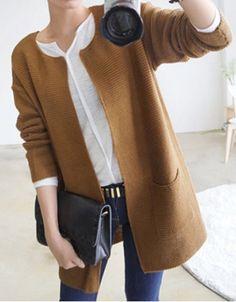 Vintage Scoop Neck Long Sleeves Solid Color Pocket Cardigan For Women