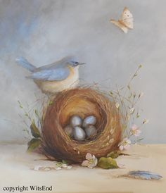 'LITTLE SURPRISES'. Bluebird Nest painting original bird feather and eggs art by 4WitsEnd, via Etsy