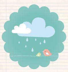 i ♥ the rain Clouds And Rain, I Love Rain, Singing In The Rain, Pattern Illustration, Illustrations Posters, Cute Art, Art Drawings, Painting, Wall Art