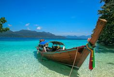 Longtail boat on a tropical beach