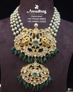 Four line pearl and emerald bead necklace with with peacock pendant adorned with polki diamonds and emeralds by Amarsons Pearls and jewels. Gold Earrings Designs, Gold Jewellery Design, Bead Jewellery, Necklace Designs, Beaded Jewelry, Gold Jewelry, Jewlery, Handmade Necklaces, Handmade Jewelry