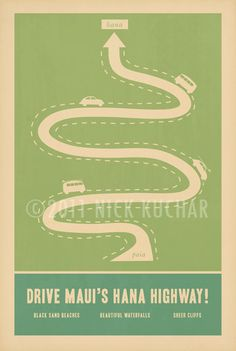 Hana Highway 12x18 Retro Hawaii Travel Print by EverythingIsJake, via Etsy.