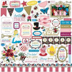 Alice In Wonderland Elements Cardstock Stickers. This package contains one 12 x 12 inch sheet with an assortment of stickers. Acid and lignin free. Coordinates with Alice In Wonderland Collection by Echo Park. Homemade Planner, Fun Crafts, Paper Crafts, Echo Park, Arts And Crafts Supplies, Diy Party Decorations, Scrapbook Supplies, Scrapbooking Ideas, Scrapbook Albums