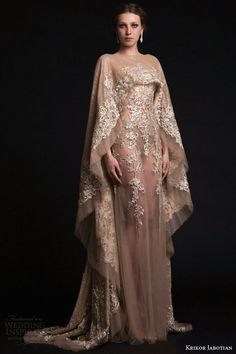 {Sheer Nude Wedding Gown With Long Sleeve Cape Featuring Gorgeous Embroidered Metallic Lace & Lace Applique by Krikor Jabotian Spring 2015}