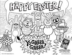 print this free yogabbagabba coloring sheet for your easter baskets - Yo Gabba Gabba Coloring Pages