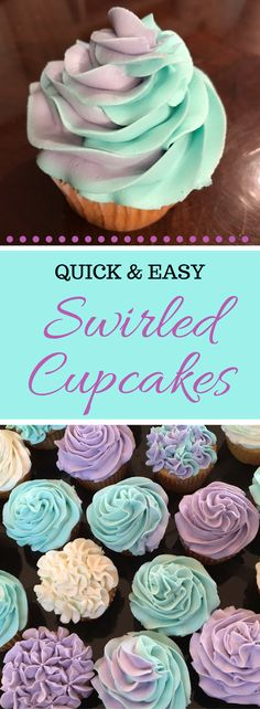 Quick and easy swirled iced cupcakes with homemade buttercream icing! Fun cupcakes to make!!