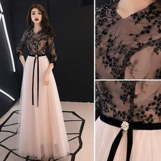 Chic / Beautiful Black Evening Dresses 2019 A-Line / Princess V-Neck Beading Lace Flower Bow Sleeve Floor-Length / Long Formal Dresses Chic / Beautiful Black Evening Dresses 2019 A-Line / Princess V-Neck Beading Lace Flower Bow Sl Indian Gowns Dresses, Indian Fashion Dresses, Indian Designer Outfits, Girls Fashion Clothes, Designer Dresses, Stylish Dresses For Girls, Stylish Dress Designs, Wedding Dresses For Girls, Designs For Dresses